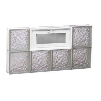 Frameless Ice Pattern Vented Glass Block Window