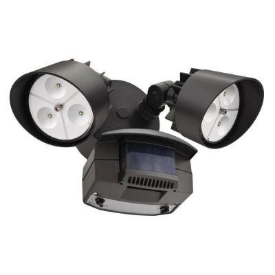 Lithonia Lighting Twin Head LED Outdoor Bronze Motion-Sensing Flood Light