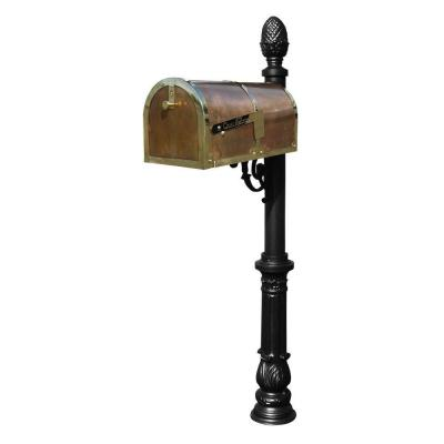 Polished Brass Post Mount Mailbox with Lewiston Post System Product Photo