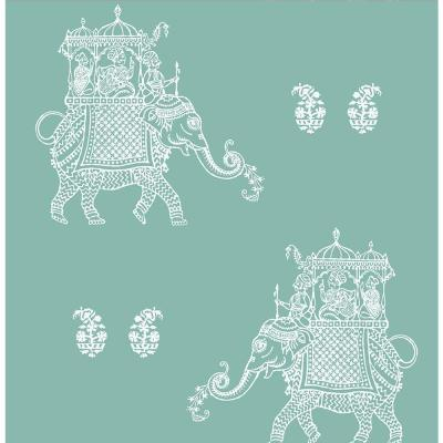8 in. W x 10 in. H Ophelia Turquoise Elephant Wallpaper Sample Product Photo