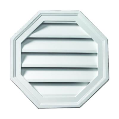 28 in. x 28 in. Polyurethane Functional Octagon Louver Gable Vent Primed White Product Photo