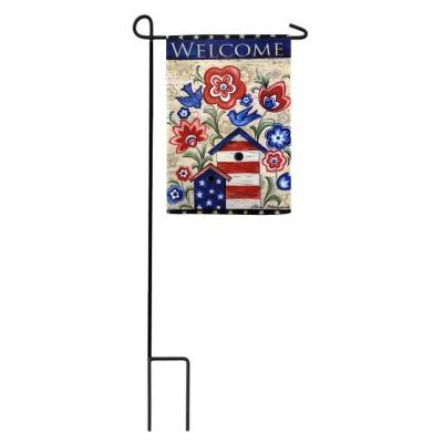 1 ft. x 1-1/2 ft. Patriotic Birdhouse 2-Sided Garden Flag with