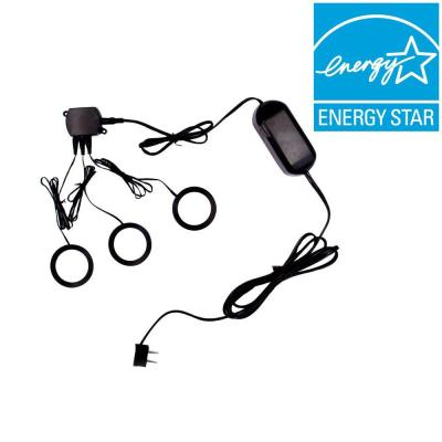 Commercial Electric 3-Light Metal Black LED Dimmable Puck Light Kit