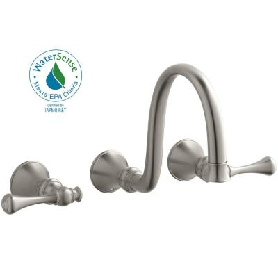 KOHLER Revival Wall-Mount Water-Saving Bathroom Faucet Trim Kit in Vibrant Brushed Nickel (Valve Not Included)