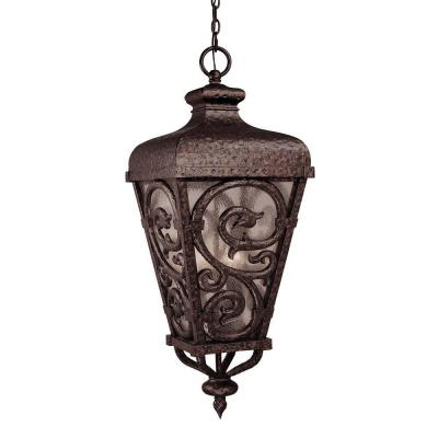Illumine 3-Light Outdoor Hanging New Tortoise Shell with Gold Lantern with Pale Cream Seeded Glass