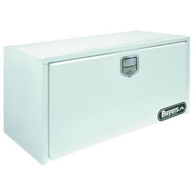 36 in. White Steel Underbody Tool Box with Stainless Steel Rotary