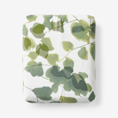 Legends Hotel Greenery Cotton and TENCEL Lyocell Multicolored 300-Thread Count Sateen Fitted Sheet