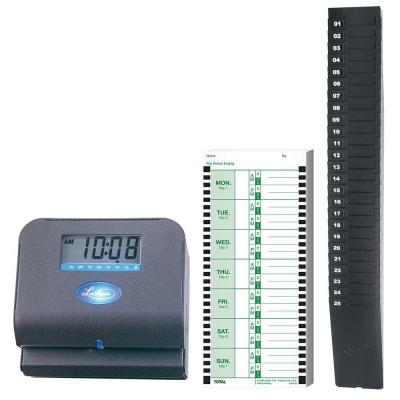 Lathem Low Cost Employee Time Recorder with Expandable Rack and 100 Double Sided Cards
