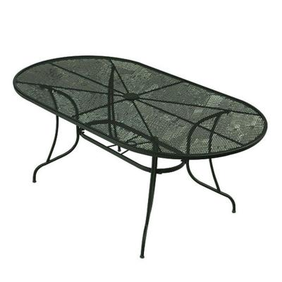 null Wrought Iron Green Oval Patio Dining Table