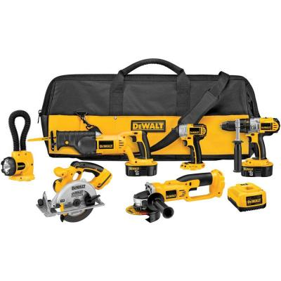 DEWALT 18-Volt XRP NiCd Cordless Combo Kit (6-Tool) with (2) Batteries 2.4Ah, 1-Hour Charger and Contractor Bag
