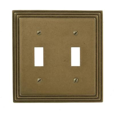 Steps 2 Gang Toggle Wall Plate - Rustic Brass