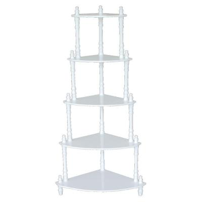 5-Tier Corner Decorative Shelving Rack in White Product Photo