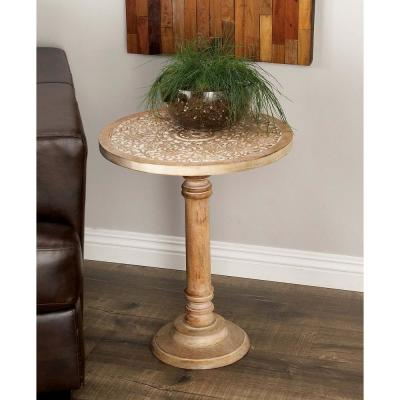 AMERICAN HOME Wooden Elephant Accent Table in Natural Brown