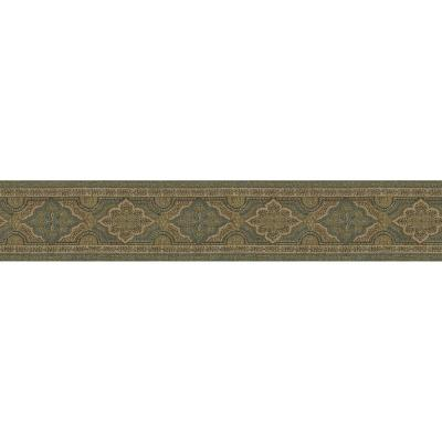 3.9 in. x 10 in. Alfred Blue Paisley Border Sample