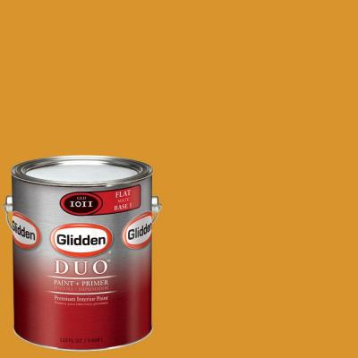 Glidden Team Colors 1-gal. #NFL-041B NFL Green Bay Packers Gold Flat Interior Paint and Primer