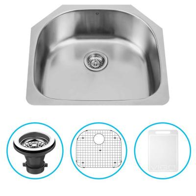 Vigo Undermount 23.5 in. Single Bowl Kitchen Sink with Grid and Strainer in Stainless Steel