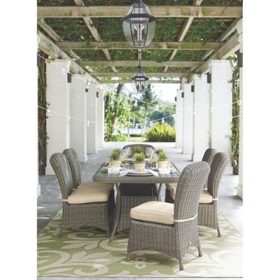 Lake Adela Weathered Grey 7-Piece Patio Dining Set with Sand Cushions