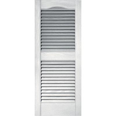 Builders Edge 15 in. x 36 in. Louvered Vinyl Exterior Shutters Pair in #117 Bright White