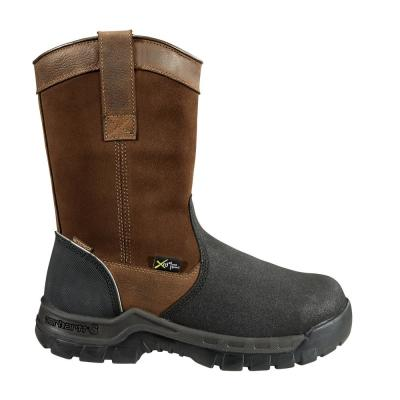 """Men's Rugged Flex Brown Leather Waterproof Composite Safety Toe 11"""" Pull-On Work Boot"""