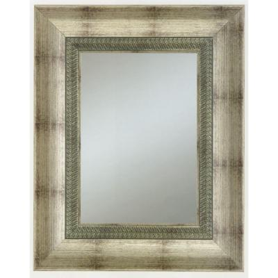 Alpine Art & Mirror 33 in. x 27 in. Welch Family Wall Mirror in Pweter Frame with Decorative Lip