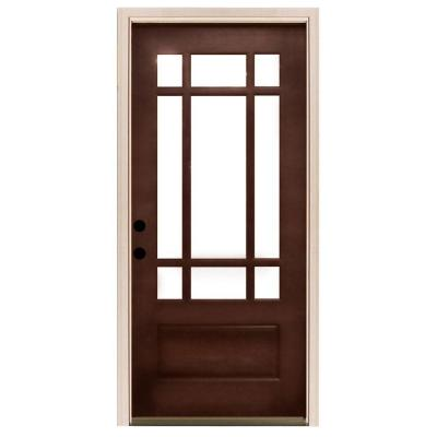 32 in. x 80 in. Craftsman 9 Lite Stained Mahogany Wood Prehung Front Door Product Photo