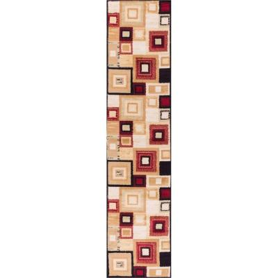 Miami Sensation Squares Red 1 ft. 8 in. x 7 ft.