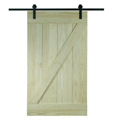 Pinecroft 38 in x 81 in wood barn door with sliding door hardware kit 8bdsw3680kdz the home - Barn door track hardware home depot ...