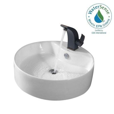 Round Ceramic Vessel Sink in White with Illusio Basin Faucet in