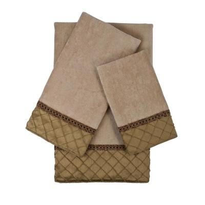 Pleated 3-Piece Geometric Bath Towel Set