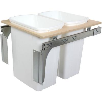 Knape & Vogt 17.5 in. x 17.5 in. x 22.5 in. 35-Quart White with Two Waste and Recycle Bin PDMTM175-2-35WH