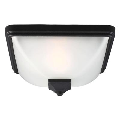 Sea Gull Lighting Irving Park 1-Light Outdoor Black Fluorescent Ceiling Flush Mount with Satin Etched Glass