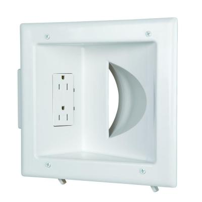 CE TECH Low-Voltage Recessed Media Plate with Duplex Receptacle