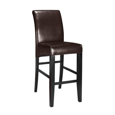 Parsons Rolled-Back Leather Bar Stool in Espresso Product Photo