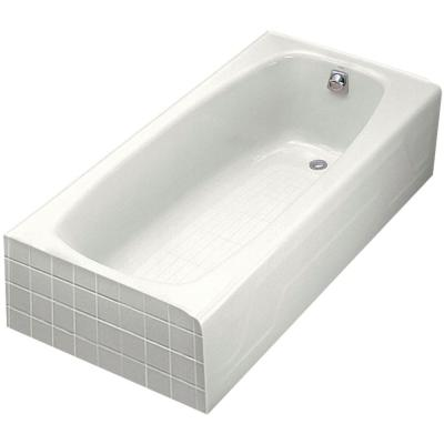 Dynametric 5.5 ft. Right-Hand Drain Cast Iron Integral Apron Bathtub in