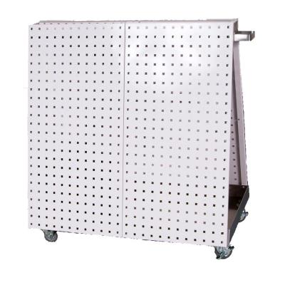 LocBoard 36-3/4 in. L x 39-1/4 in. H x 21-1/4 in. W Aluminum Frame Tool Cart with Tray, 56-Pieces LocHook Asst and 4 Hanging Bins