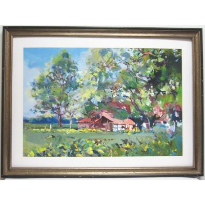 null 34.75 in. x 27.25 in. Summer Cottage Framed Wall Art
