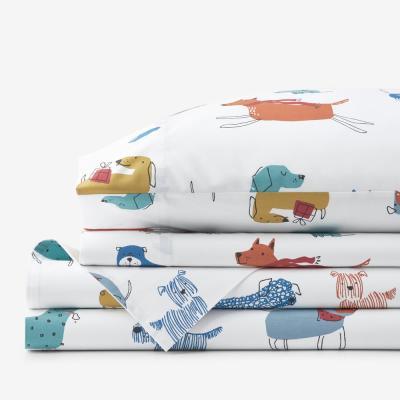Company Cotton Winter Dogs Multicolored Cotton Percale Sheet Set