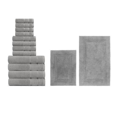 Belle Haven and Peniston 14-Piece Solid Cotton Bath Towel and Rug Set