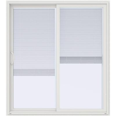 72 in. x 80 in. V-4500 White Prehung Left Hand Sliding Vinyl Patio Door with Blinds Product Photo