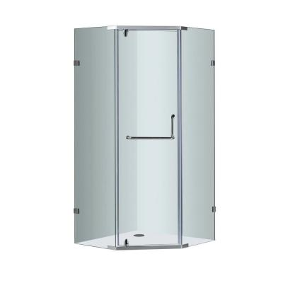 Aston SEN973 36 in. x 36 in. x 75 in. Semi-Framed Neo-Angle Shower Enclosure in Chrome with Clear Glass
