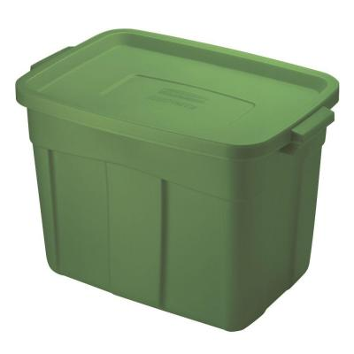 Rubbermaid 18 Gal. 15-9/10 in. x 16-1/2 in. x 23-9/10 in. Storage Tote in Green