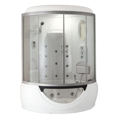 Cascade 53 in. x 53 in. x 88 in. Steam Shower Enclosure Kit with Whirlpool Tub in White Product Photo