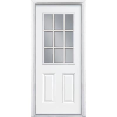 Masonite 36 in. x 80 in. 9 Lite Internal Grille Primed Smooth Fiberglass Prehung Front Door with Brickmold