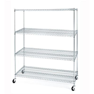 Seville Classics 4-Tier 60 in. W x 72 in. H x 24 in. D Commercial Steel Shelving System Unit with Wheels-DISCONTINUED