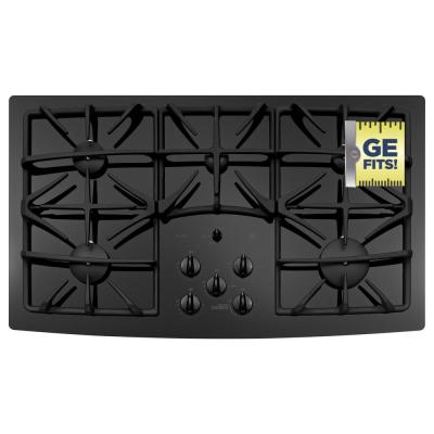 36 in. Gas-on-Glass Gas Cooktop in Black with 5 Burners including