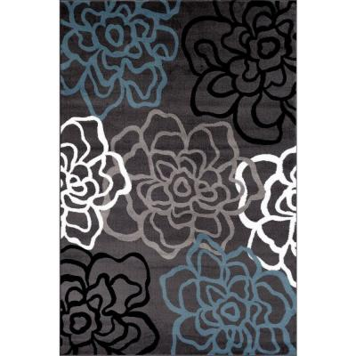 Contemporary Modern Floral Flowers Gray 3 ft. 3 in. x 5