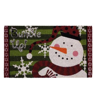 Bundle Up Snowman 17 in. x 29 in. Coir and Vinyl