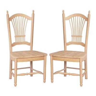 Sheaf Back Solid Wood Dining Chair in Unfinished (Set of 2) Product Photo