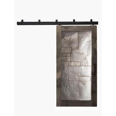 42 in. x 84 in. Steampunk Home Depot Grey Metal Barn Door with Box Rail Sliding Door Hardware Kit Product Photo