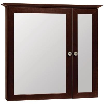 Glacier Bay 31 in. x 29 in. Surface-Mount Mirrored Medicine Cabinet in Java